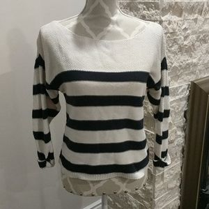 Topshop Navy and white knitted sweater